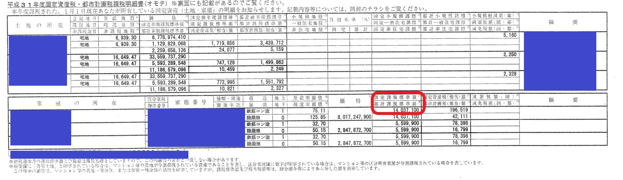 マンション課税明細書